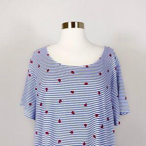 3/$15 Karen Scott - Plus Size  Ladybug Striped Top